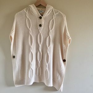 Old Navy Cream Cable Knit Hooded Poncho M-L